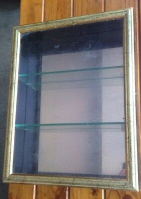 Black Gold Display Hanging Shelf Glass Cabinet Shadow Box 3 Shelves Collectibles