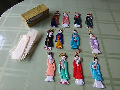 Vtg Chinese Paper Cloth Doll Kimono People's Republic of China Ornaments Set 12