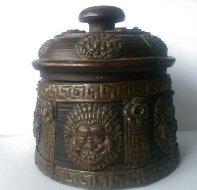 old turned wood and copper container pot with lid