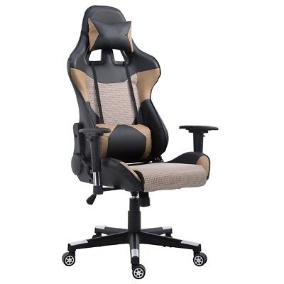 Brown Office High Back PU Leather Reclining Gaming Racing Chair w/Lumbar Support