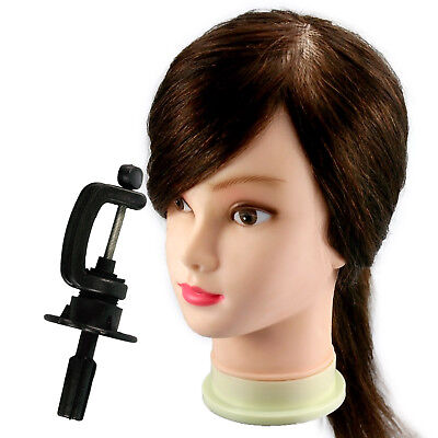 """100% Real Human Remy Brown Hair Cut 18"""" TRAINING HEAD Hairdressing w/Clamp C12"""