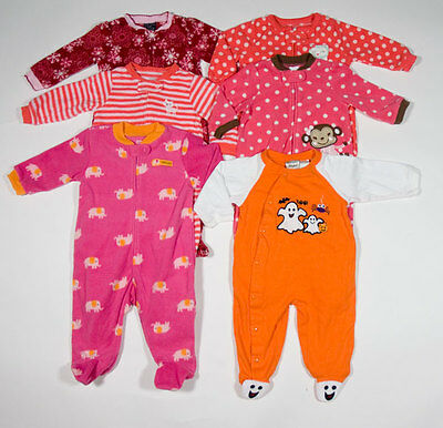 027146e44 BABY GIRLS 3M 6M 9M Sleepers Lot 6 Pj s Pajamas Footed Carters ...
