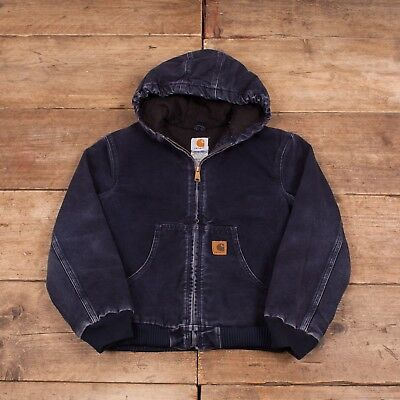 Childs Vintage Carhartt Navy Blue Hooded Cotton Jacket Large 10-12 Years R6620