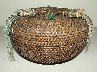 Antique Beautiful Hand Woven Chinese Asian Round Basket With Cover c.1930