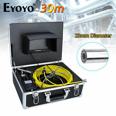 """Eyoyo 30M 7"""" LCD 23mm Pipe Pipeline Drain Inspection Sewer Camera TFT CCTV Cam"""