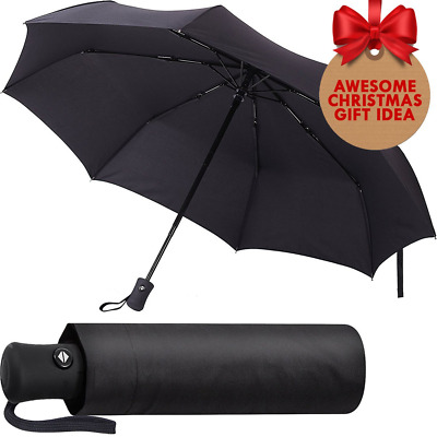 Black Umbrella Compact and Folding Auto Open and Close Windproof for Men & Women