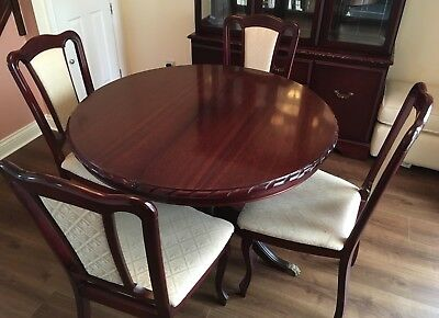 John E Coyle Dark Mahogany Dining Room Table And 4 Upholstered Chairs