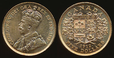 1912 Canada $5 Gold (Nice Example) See Hi-Res Image > No Reserve