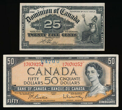 $89.25 Face Value Old Canada Notes (25¢/$1/$2/$50) See Pictures > No Reserve
