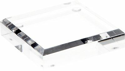 "Plymor Brand Clear Acrylic Square Beveled Display Base, .75"" H x 3"" W x 3"" D"