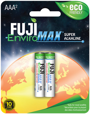 AAA Batteries Fuji EnviroMax Super Alkaline 1.5V Eco Friendly Pack Of 2