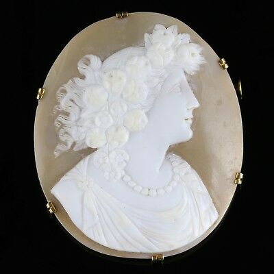 Antique Victorian Shell Cameo Brooch French Circa 1880 18Ct Gold