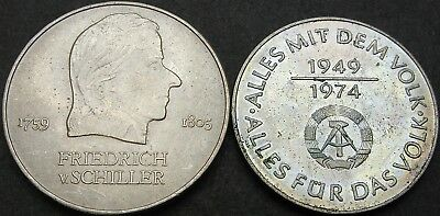 GERMANY (East) 10, 20 Mark 1972/1974A - Schiller/25 Years GDR - 2 coins - 3080 ¤