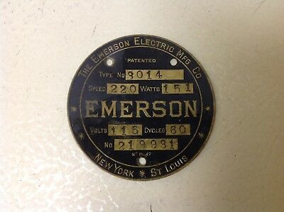 Vtg Antique Original Emerson Electric Ceiling Fan Motor ID Tag Plate Type 3014