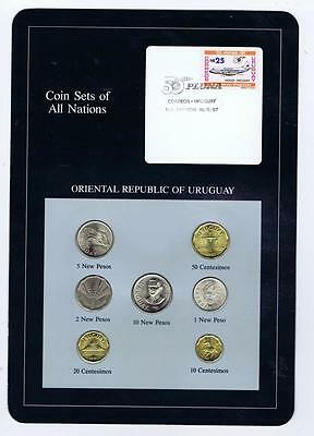 Oriental Republic of Uruguay 7pc Mint 1980-81  BU Coin Set of All Nations stamp