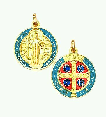 2 Gold Enamelled St. Benedict Jubilee Exorcism Medals-Blessed by Pope on request