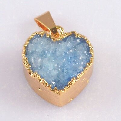 14mm Heart Blue Agate Druzy Geode Pendant Bead Gold Plated B051193