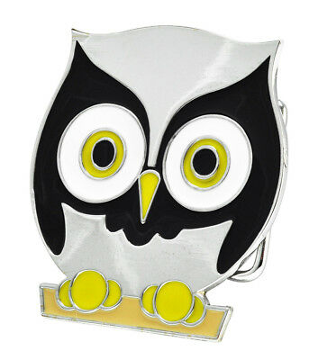 SILVER & Black Owl Belt Buckle Cute Polished Cool Hip Metal Girly Unique