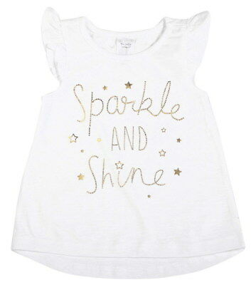Baby Girls White Sparkle & Shine Gold Metallic Print Soft Cotton Frill Sleeve T