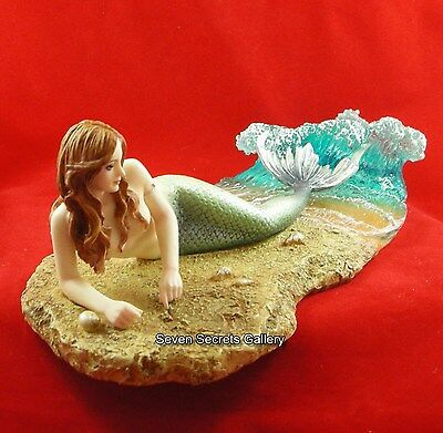 Mermaid Figurine Hand Painted Ornament Nude Figure Statue Siren Seamaid Waiting