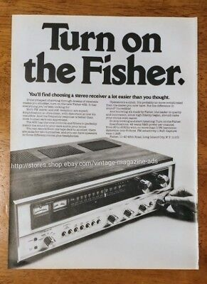 1975 Fisher 432 stereo receiver OR Verylite Or Konica camera vintage 1970s Ad