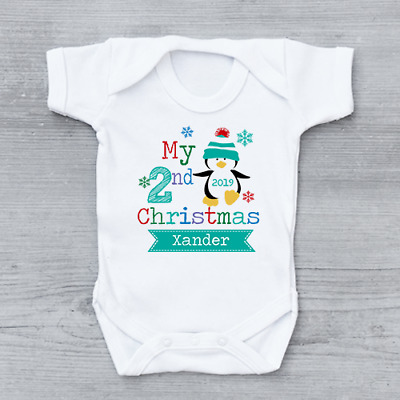 Personalised My Second 2nd Christmas Xmas Penguin Unisex Baby Grow Bodysuit
