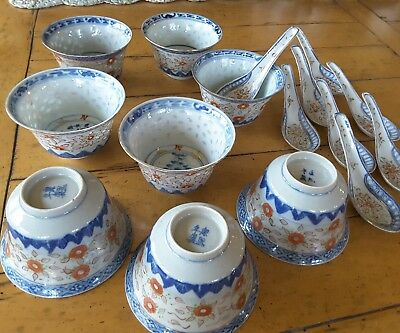 8 Estate cups antique chinese porcelain grain rice blue white SIGNED lot +spoons