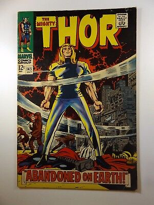 """The Mighty Thor #145 """"Abandoned on Earth!"""" VG+ Classic Story!!"""
