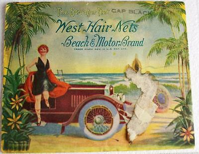 Vintage Antique West Hair Nets Hair Net Old Car Advertising Complete Ad Excellen