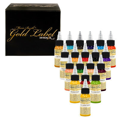 Intenze Authentic Tattoo Ink Mario Barth Gold Label 19 Color Collection Set 1oz