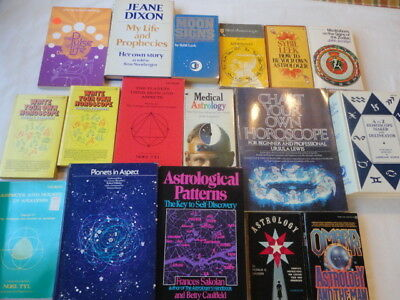 Large Lot of 17 Vintage Astrology Books; 1970's  Assorted Authors
