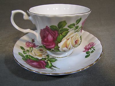 Crown Dorset Footed Cup & Saucer Set Gold Trim Staffordshire England Bone China