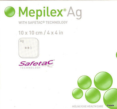 """Brand New Box of 4"""" x 4"""" MEPILEX AG Silver Wound Dressings #287100 Exp 09/2018"""