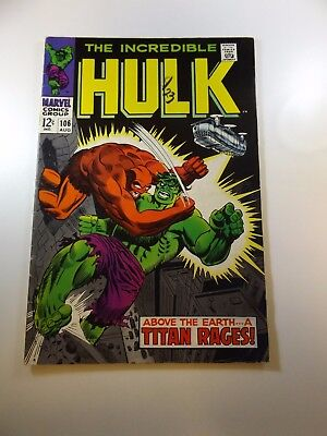 Incredible Hulk #106 VG+ condition Huge auction going on now!