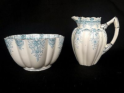 Antique Wileman & Co Foley Blue Floral Pottery Cream and Sugar Bowl England