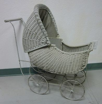 Large Antique Wicker Baby Buggy Metal Wood Wire Cloth Carriage Stroller Pram