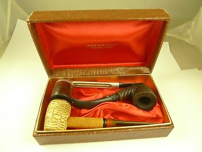 Lot of 3 Estate Pipes Vintage Antique Wood Metal Corn Cob Collection Orig Box