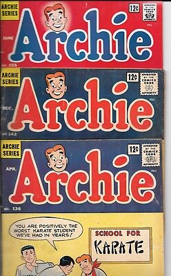 "No Reserve Sale Of * Archie Comics *  Set Of 3 "" Archie And Me  ""from 1963 -65"