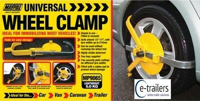 "Uk Maypole Wheel Clamp - Car Trailer Caravan Wheel Sizes 13-17"" -  Mp9065"
