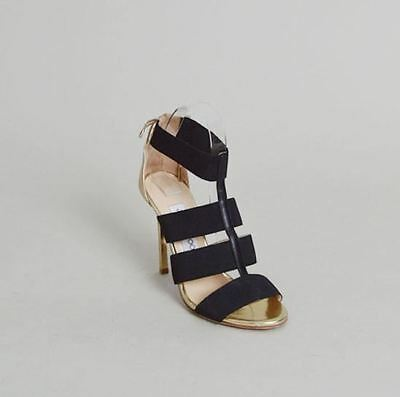4ee962793c4b JIMMY CHOO BLACK Elastic and Gold Mirror Leather Sandals - Size 37.5 ...