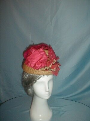 Antique Hat 1870 Straw Hat Red Ribbon Floral and Feather Trim