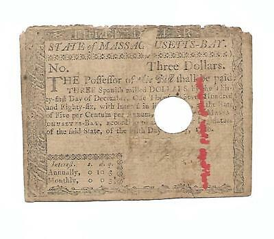 "Orig. 1780 Colonial Note ""THREE DOLLARS""  Massachusetts  5 May, 1780"