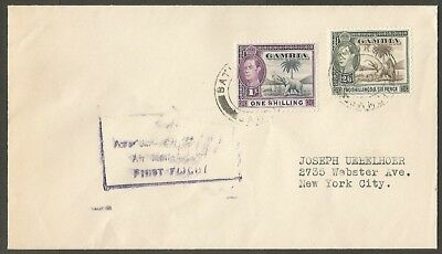 1942 First Flight Gambia To Miami Fl Air Mail Cover