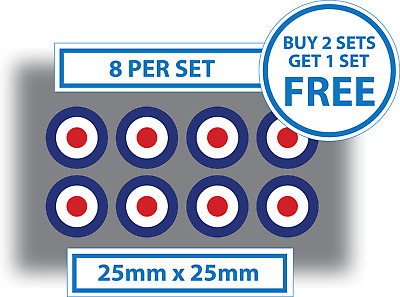 """RAF Roundel The Who Mod Target Vespa #0215 2 x 150mm  6/"""" Glossy Vinyl Stickers"""