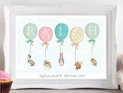 Personalised Peter Rabbit Balloon Print Picture Baby Christening Nursery Gift