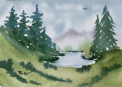 ACEO Original Art Watercolour Painting by Bill Lupton  - Lake and Pines