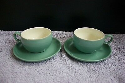 2 Vintage Denby Manor Green stoneware cups & saucers (post 1960)