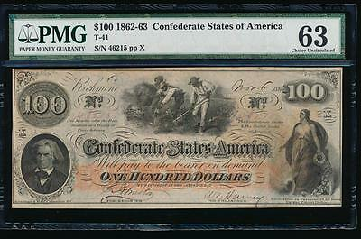 AC T-41 $100 1862 Confederate Currency CSA PMG 63 slaves hoeing cotton