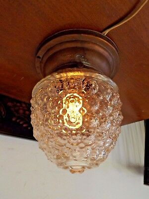 Antique 1920s Copper & Bubble Glass Globe Porch Entryway Ceiling Light Fixture