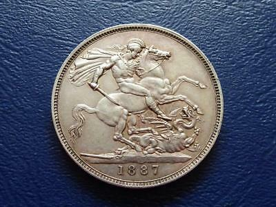 Queen Victoria Sterling Silver Crown 1887 Nice Coin Great Britain Uk